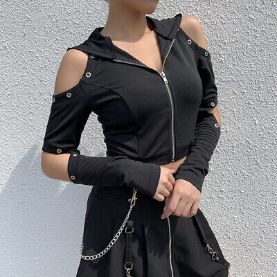 Ladies Gothic Hoodie Sweatshirt Tops Cold Shoulder Hollow Cropped Top Chain Punk