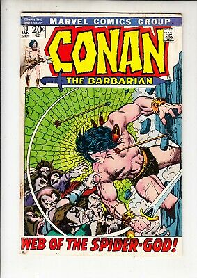 "CONAN THE BARBARIAN  #13  Marvel 1972 - ""Web of the Spider-God""  Barry Smith"