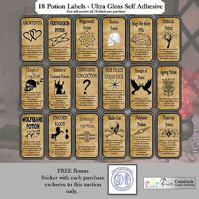 18 Harry Potter Potion Labels Wizard Witch Spells Potions Print ONLY Halloween.