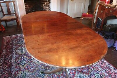 Antique 19th Century Original Twin Pedestal 8 Seat D end Mahogany Dining Table