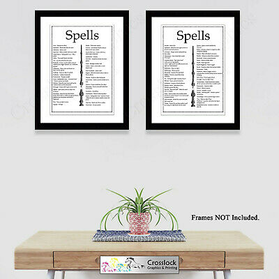 Set of 2 Harry Potter Prints Magic Wand Wizard spells Picture Print ONLY A4 gift