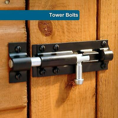 Heavy Duty Large Garden Gate Shed Sliding Door Tower Bolt Black Various Sizes