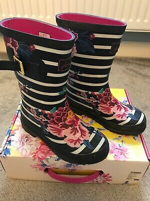 Joules Girls Wellies Size 13 Wellington Boots Navy Blue White Stripe Flowers Box