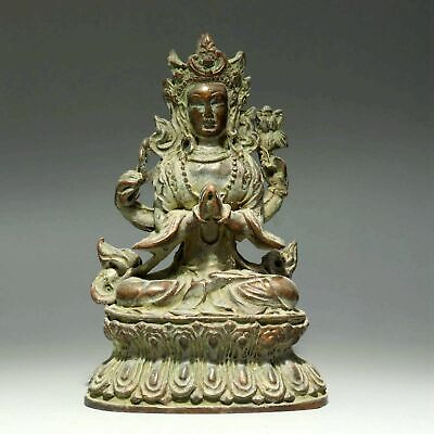 Collectable China Antique Bronze Hand-Carved Buddhism Exorcism Guan Yin Statue