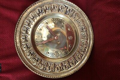 Unusual Old Made in England Regulator Round Brass with Copper Hands Wall Clock