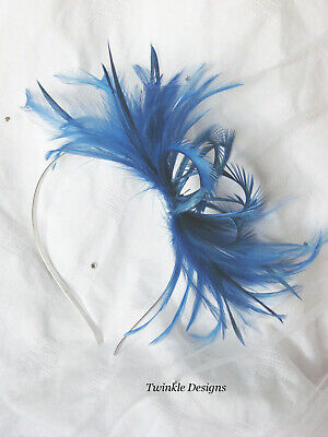 Cobalt Electric Blue Fascinator Feather Races Wedding Alice Band Headband