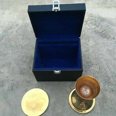 Religious chalice and paten with case, used appears to be gold plated brass