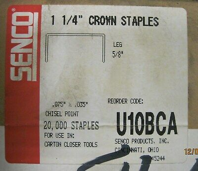 "3 boxes, Senco staples, #U10BCA, 1 1/4"" crown x  5/8 inch length/ 2500 box"