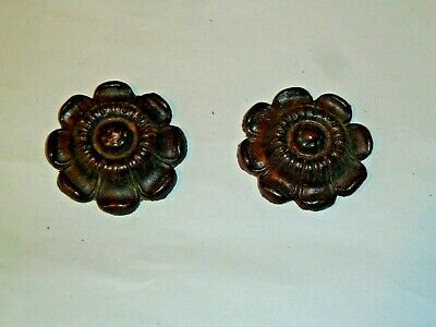 Pair of original solid wood paterae from Vienna wall clock c1880
