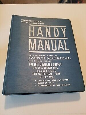 Book 1,033 - C. & E. Marshall's Professional Watchmakers' Handy Manual of Watch