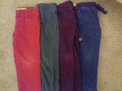 Boy's Trousers/Jeans x 4, 3-4 years, red,green, purple, blue.George/TU/Primark.