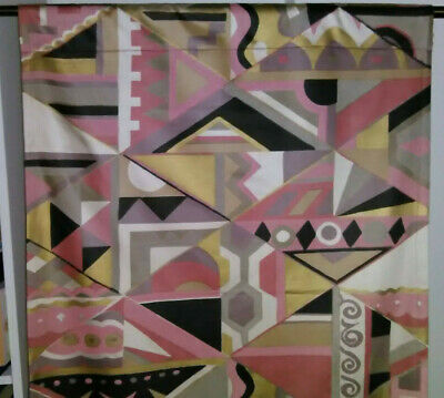 Vintage mid century abstract huge drapery fabric curtains drapes panels!