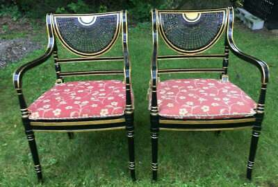 Pair Of Antique English Regency Style Caned Back Arm Chairs