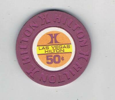 Las Vegas Hilton 50c Casino Chip - Las Vegas - 1975 House Mold - Books $25-$29