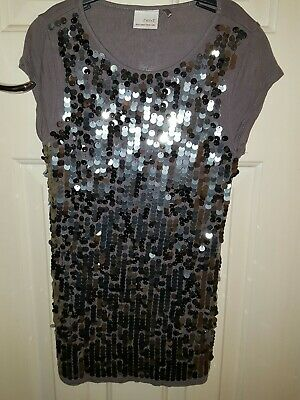 Girls NEXT Grey Silver  Sequin Sparkly Top Age 9