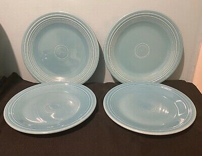 """Fiesta Dinner Plates Lot Set of Four (4) Turquoise 10.5"""" Fiestaware Excellent!!!"""