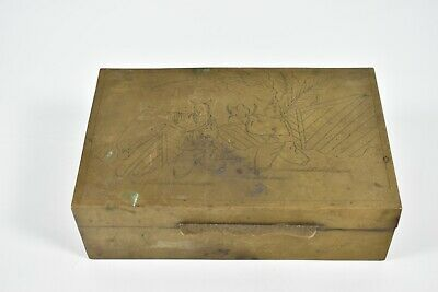 Vintage Brass Wood Lined Chinese Trinket Stamp Cigarette Box Etched Themed Lid