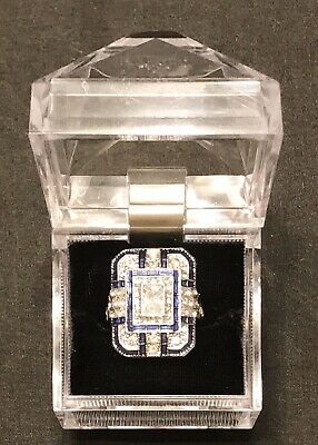 Antique Art Deco Style .925 Sterling Silver Sapphire Diamond Ring Size 8