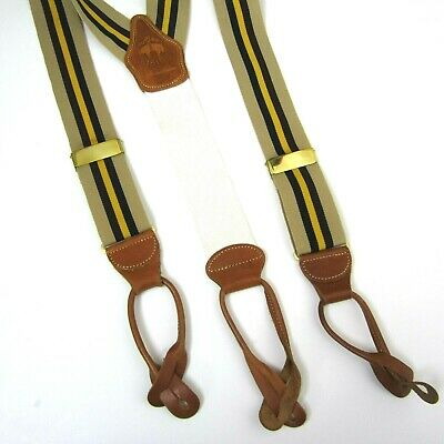 Brooks Brothers Mens Navy Blue Gold Tone Y Type Nylon Leather Suspenders 8136-5
