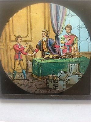 Antique Victorian Magic Lantern Glass Slide Medieval Scene Men & Child Boy