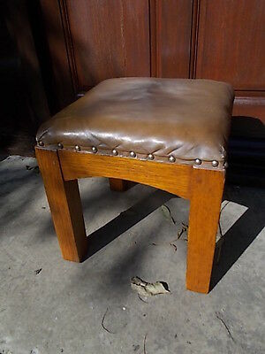 Arts & Crafts Light Oak Leather Hide 4 leg Wooden Stool Signed Stamped SIMPSON