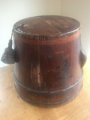 Antique Signed c19th Chinese Oriental Asian Wooden wedding Bucket Recepticle 13""