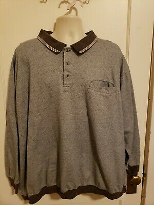 REPP LTD MEN'S L/S GOLF POLO SHIRT, SIZE: 3XL GRAY Herringbone Waist Band Cuff