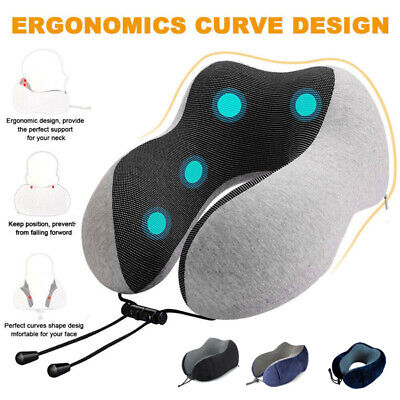 Travel Pillow Memory Foam U Shaped Neck Support Head Rest Airplane Cushion Soft