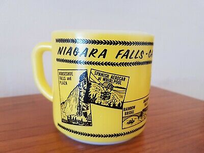 Vintage Milk Glass Mug Niagara Falls Yellow Federal Souvenir NOS CANADA
