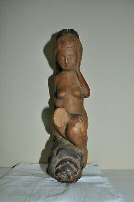 Antique carved wood Architectural nude woman