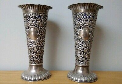 Pair Of Victorian Solid Silver Vases Blue Liners  Probably Chester 1900