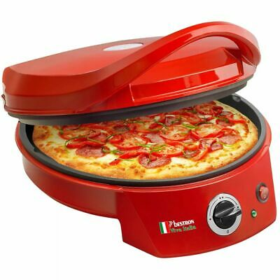 Bestron Machine à pizza / Gril de table électrique APZ400 1800 W rouge