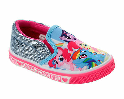Girls Official My Little Pony Canvas Slip On Pumps Shoes Trainers Uk Size 6-12