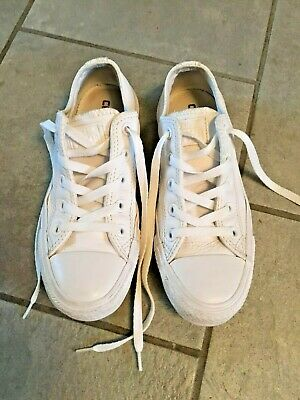 White Leather Converse Girls-Womens Trainers Size 3.5