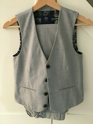 Next Boys Formal Light Grey Trousers And Waistcoat Age 11 Years