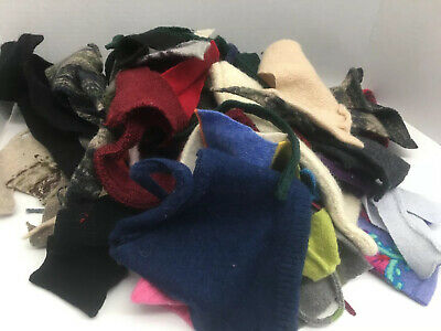 1 Pound Felted Wool Sweater Scraps Cuttings Pieces Crafts Cutters Applique 20-3
