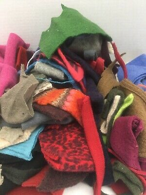 1 Pound Felted Wool Sweater Scraps Cuttings Pieces Crafts Cutters Applique 20-6