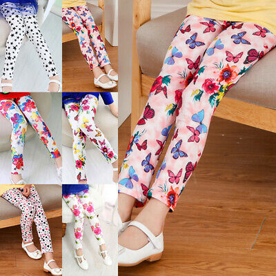 Toddlers Girls Casual Slim Fit Pants Printed Stretch Trousers Soft Cute Leggings