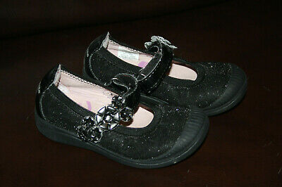 Stride Rite Baby Toddler Girls Shoes 6.5 Sparkly Black Mary Janes