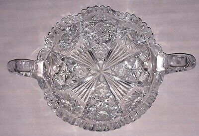 Antique American Brilliant Deep Cut/Etched Crystal Relish Nut Candy Serve Bowl