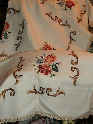 Vintage Cross Stitch? Rose Embroidered Large Square Cream Linen Table Cloth.