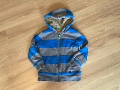 Used boys Mini Boden blue and grey striped hooded zip up hoodie, 5-6 years