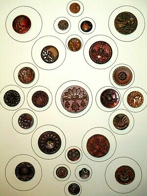 CARD of THE BEST Antique VICTORIAN - RED TINT Tin PICTURE Clothing BUTTONS