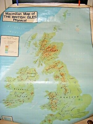 Vintage 2 Sided Macmillan Map Poster British Isles Resources & Physical Coated