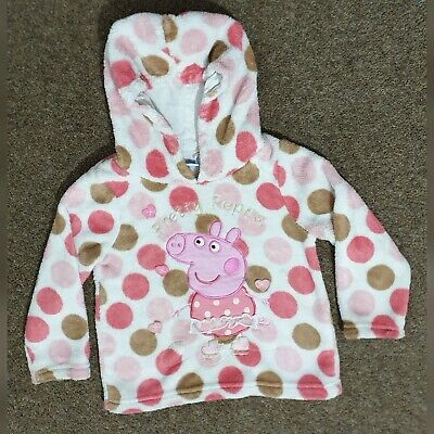Girls PEPPA PIG Fleece Hoodie Top Jumper AGE 2-3 Pink/White Kids Toddler Clothes