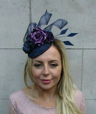 Navy Blue Dark Purple Flower Feather Pillbox Hat Fascinator Races Wedding 8026