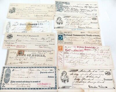 .10  X 1800s 1866 - 1914 USA AMERICAN CHECKS, CHEQUES, PROMISORY, EXCHANGE NOTES