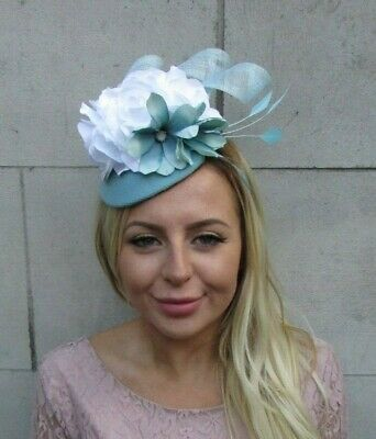 White & Duck Egg Light Turquoise Blue Flower Feather Hat Fascinator Races 8032