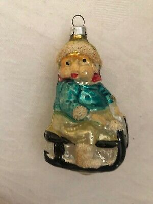Antique Mercury Glass Child On Sled Mica German Figural Christmas Ornament