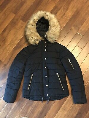 Ladies Girls Topshop Navy Padded Jacket Coat Size 8 With Faux Fur Hood